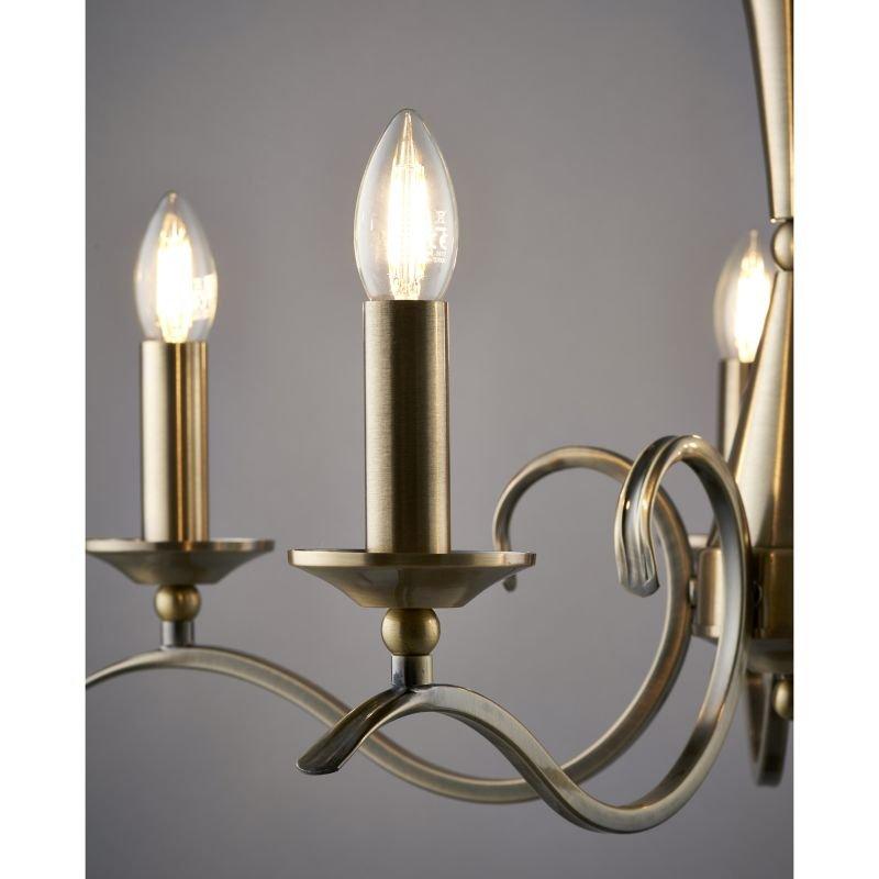 Endon-KORA-5AB - Kora - Decorative Antique Brass 5 Light Centre Fitting