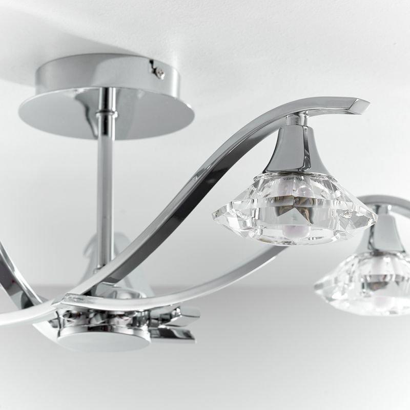 Endon-LANGELLA-5CH - Langella - Crystal & Chrome 5 Light Semi Flush