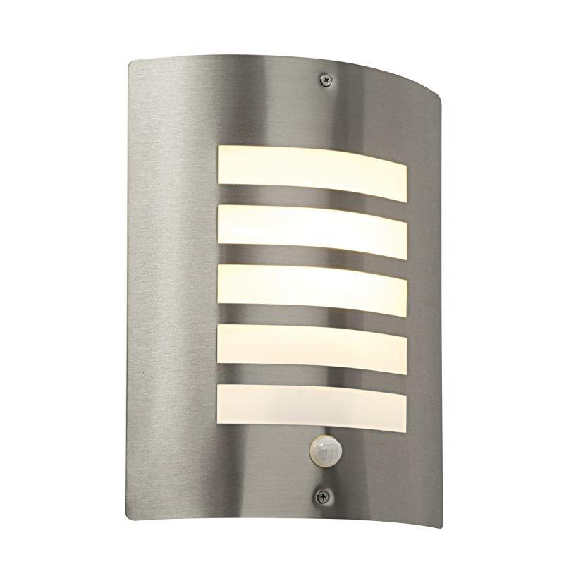 Saxby-ST031FPIR - Bianco - Opal & Stainless Steel PIR Wall Lamp