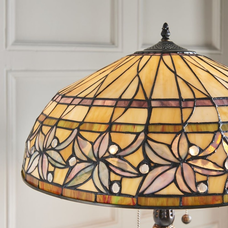 Interiors1900-63912 - Ashtead - Tiffany Glass & Dark Bronze Floor Lamp