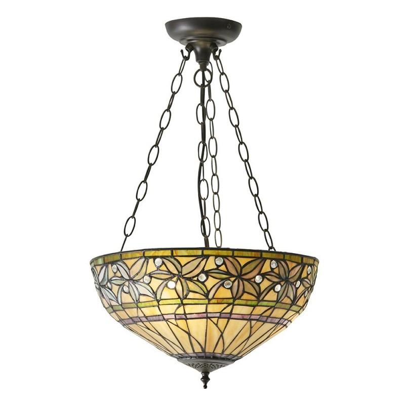 Interiors1900-63913 - Ashtead - Tiffany Glass & Dark Bronze Medium Pendant