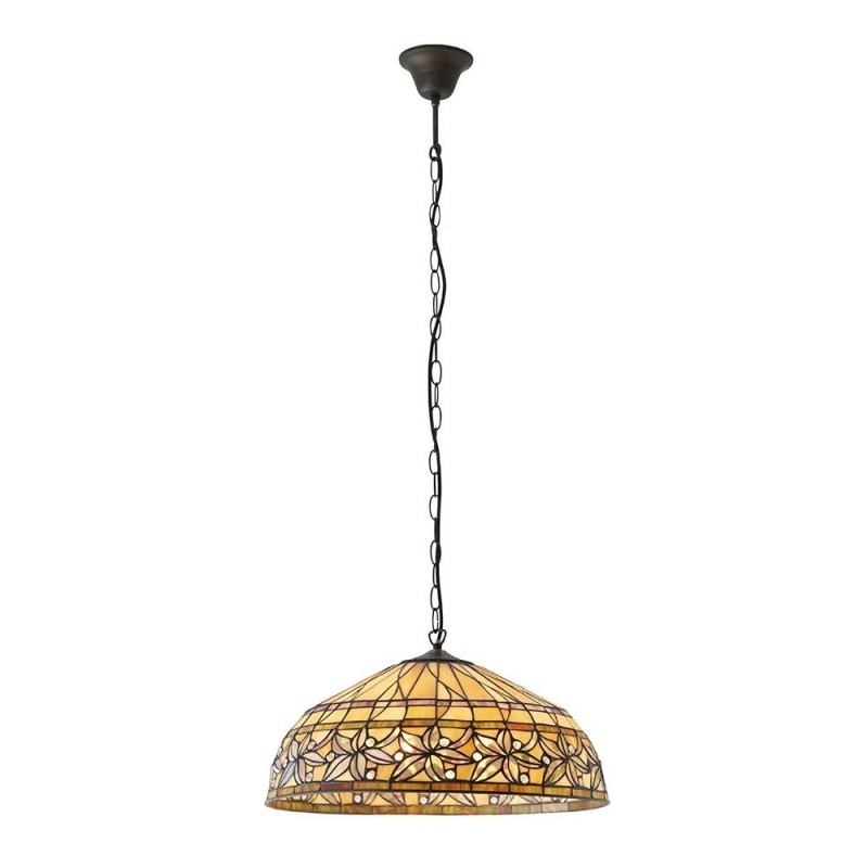 Interiors1900-63914 - Ashtead - Tiffany Glass & Dark Bronze 3 light Pendant