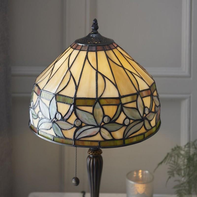 Interiors1900-63915 - Ashstead - Tiffany Glass & Dark Bronze Small Table Lamp