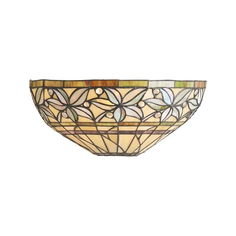 Interiors1900-63917 - Ashstead - Tiffany Glass & Black Wall Lamp
