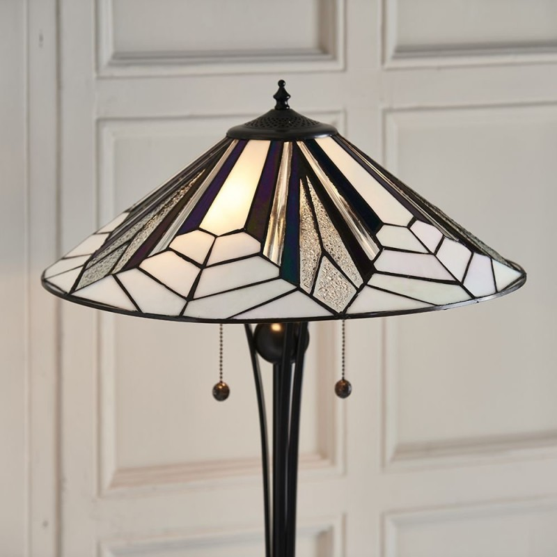 Interiors1900-63934 - Astoria - Tiffany Glass & Black Floor Lamp