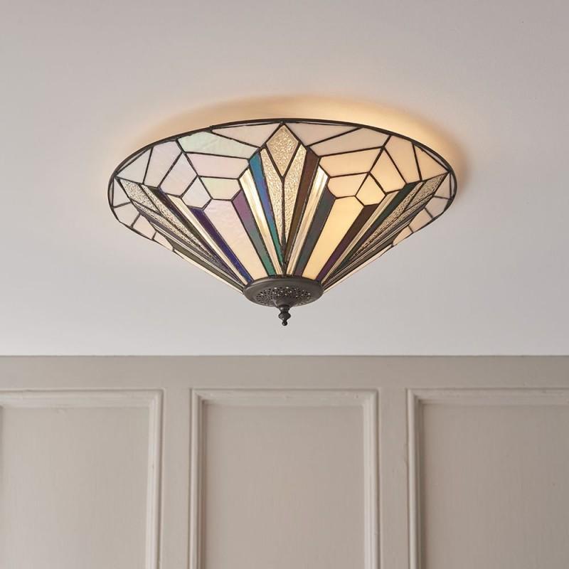 Interiors1900-63935 - Astoria - Tiffany Glass & Dark Bronze Large Flush