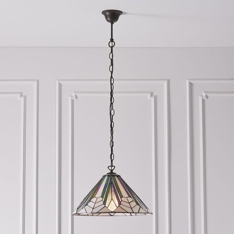 Interiors1900-63937 - Astoria - Tiffany Glass & Dark Bronze Medium Pendant