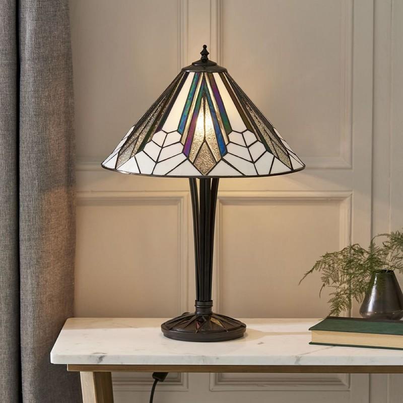 Interiors1900-63939 - Astoria - Tiffany Glass & Black Medium Table Lamp