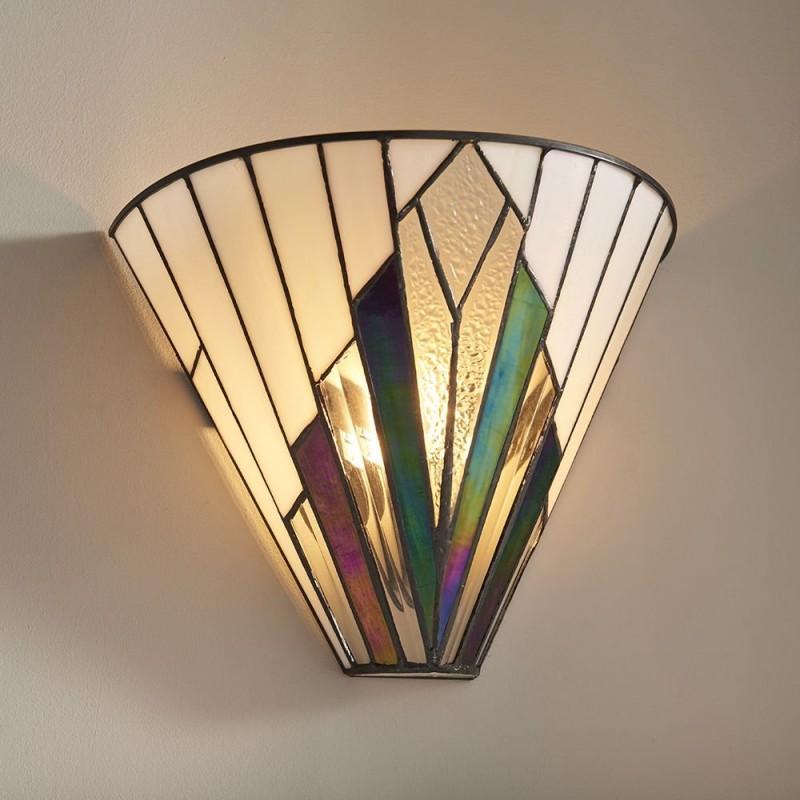 Interiors1900-63940 - Astoria - Tiffany Glass & Matt Black Wall Lamp