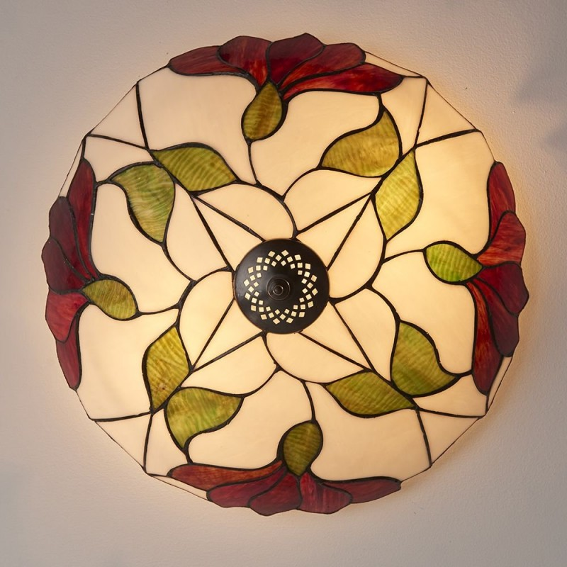 Interiors1900-63960 - Botanica - Tiffany Glass & Dark Bronze Large Flush