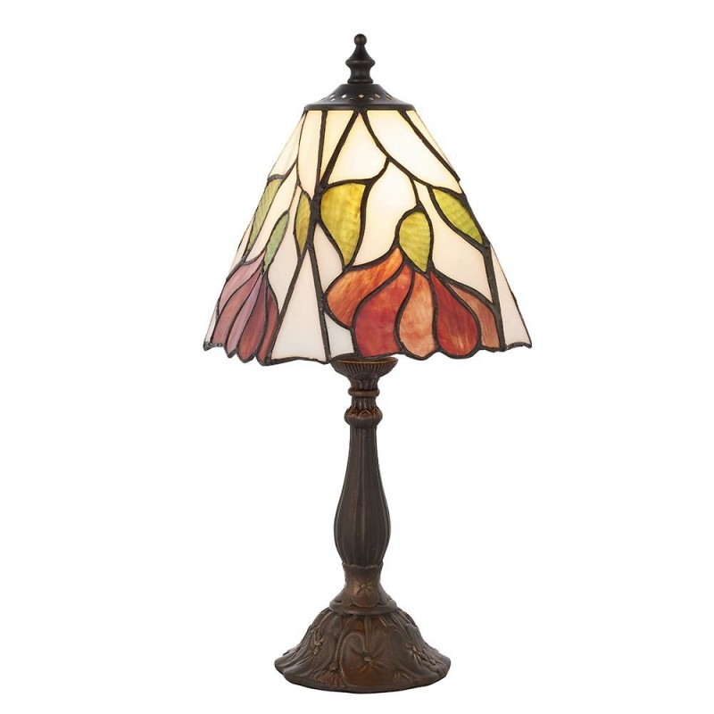 Interiors1900-63963 - Botanica - Tiffany Glass & Dark Bronze Small Table Lamp