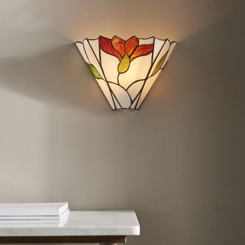 Interiors1900-63964 - Botanica - Tiffany Glass & Black Wall Lamp