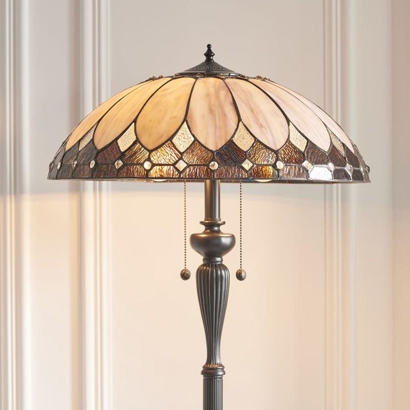 Interiors1900-63972 - Brooklyn - Tiffany Glass & Dark Bronze Floor Lamp