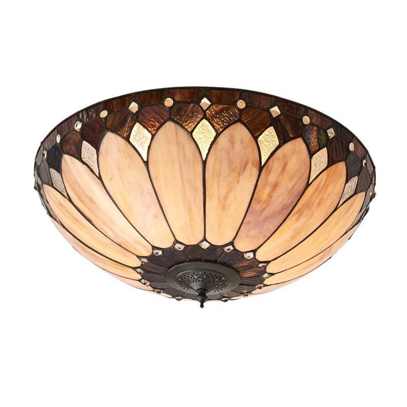 Interiors1900-63973 - Brooklyn - Tiffany Glass & Dark Bronze Flush