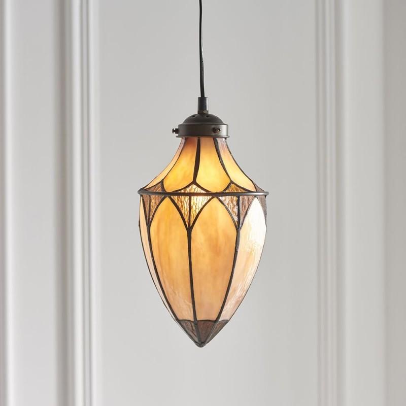 Interiors1900-63975 - Brooklyn - Tiffany Glass & Dark Bronze Small Pendant