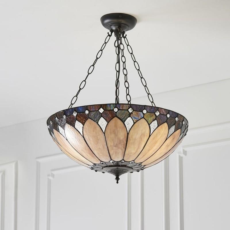 Interiors1900-63976 - Brooklyn - Tiffany Glass & Dark Bronze 3 Light Pendant