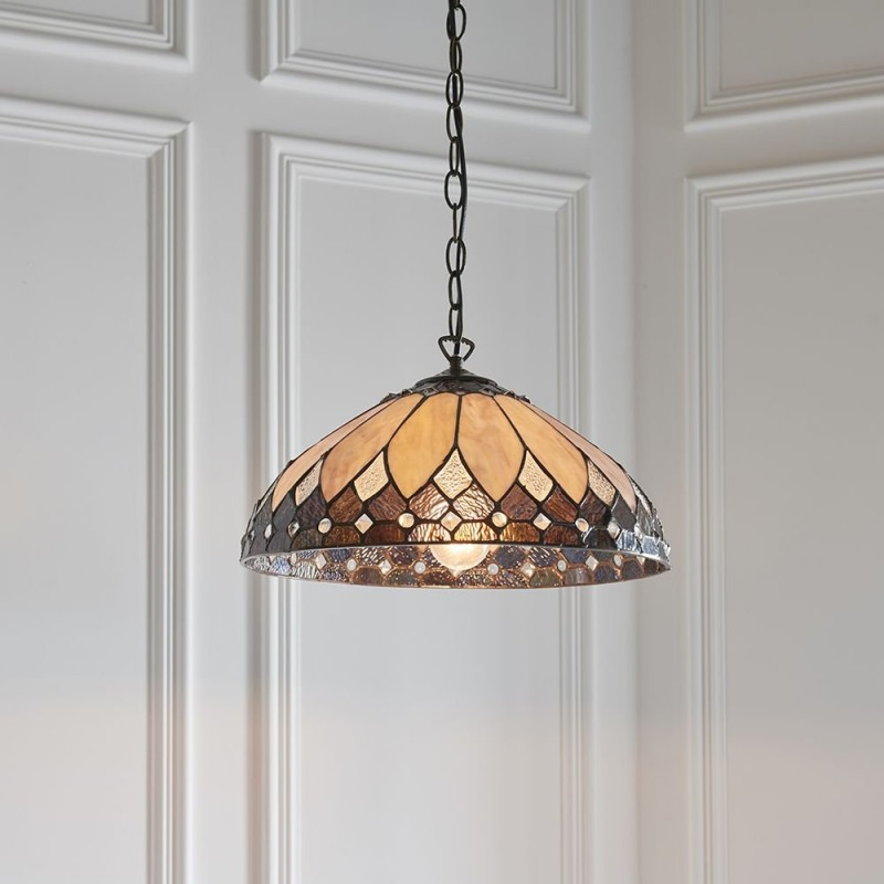 Interiors1900-63977 - Brooklyn - Tiffany Glass & Dark Bronze Medium Pendant