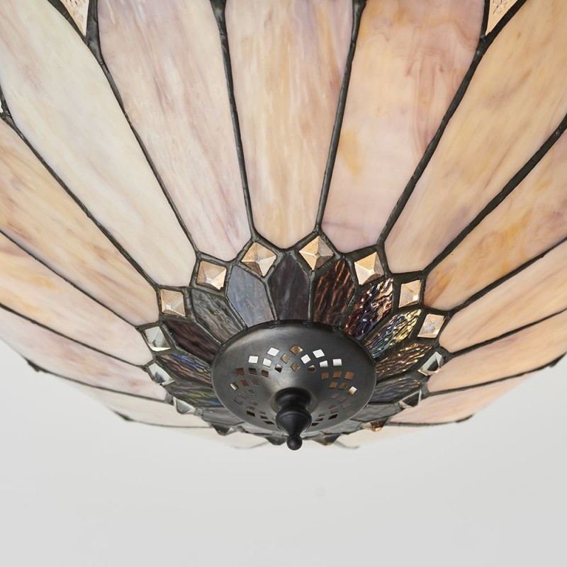 Interiors1900-63978 - Brooklyn - Tiffany Glass & Dark Bronze 3 Light Semi Flush