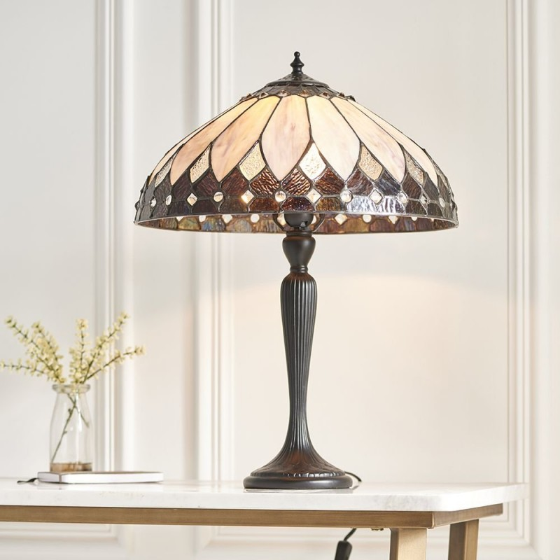 Interiors1900-63982 - Brooklyn - Tiffany Glass & Dark Bronze Medium Table Lamp
