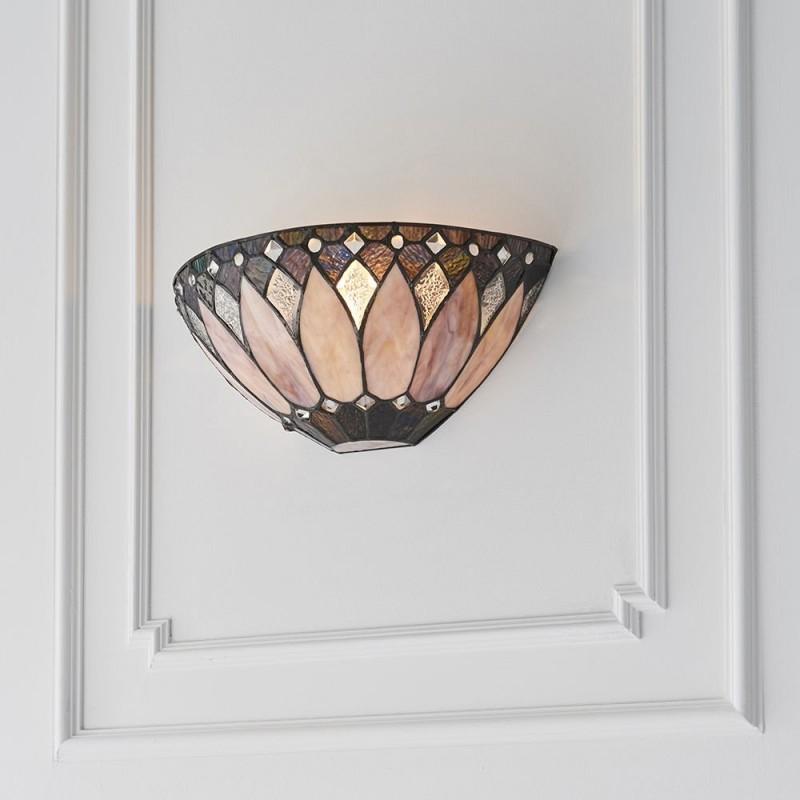Interiors1900-63983 - Brooklyn - Tiffany Glass & Matt Black Wall Lamp