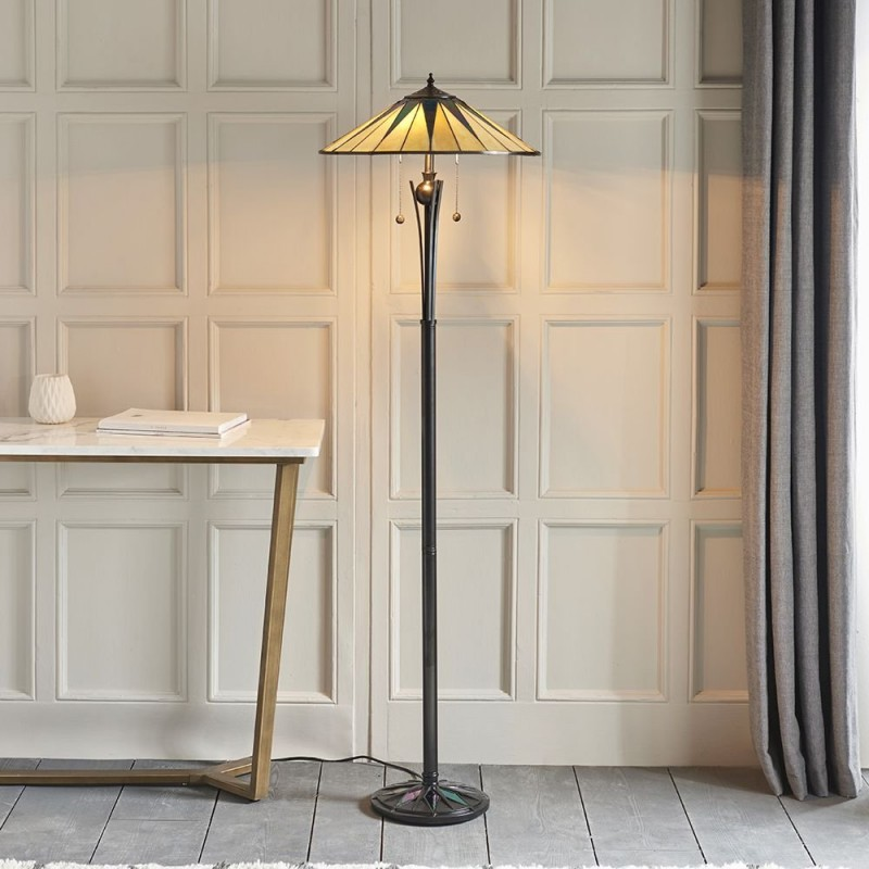 Interiors1900-64041 - Dark Star - Tiffany Glass & Black Floor Lamp