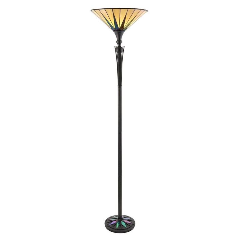 Interiors1900-64042 - Dark Star - Tiffany Glass & Black Uplighter Floor Lamp
