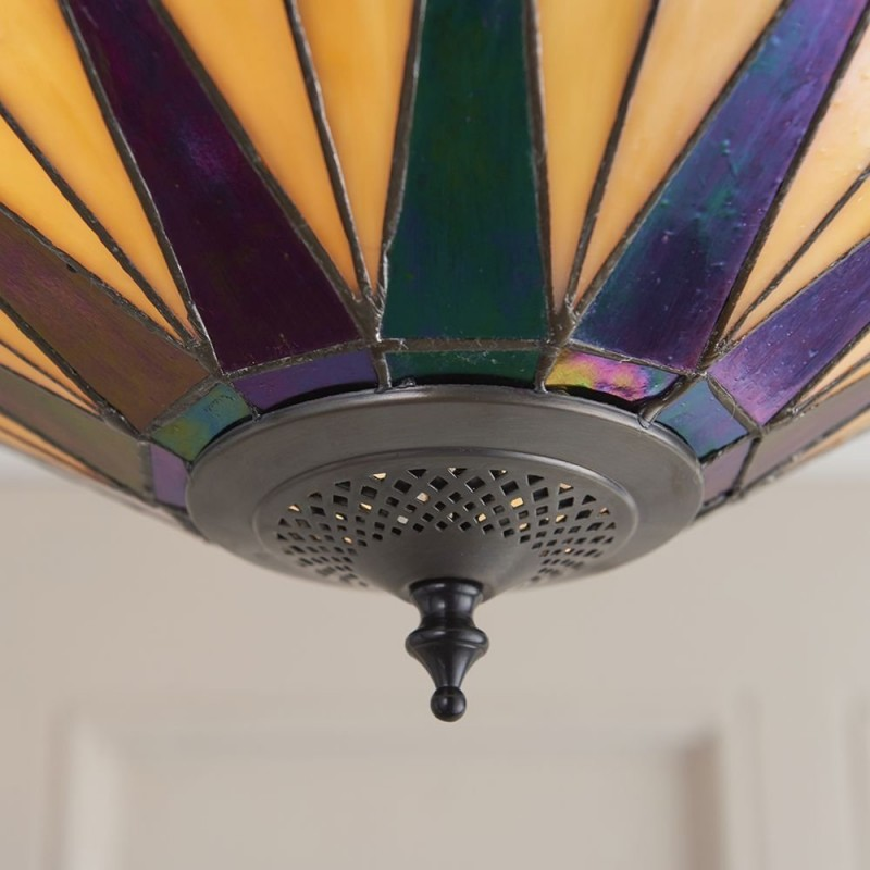 Interiors1900-64043 - Dark Star - Tiffany Glass & Dark Bronze Semi Flush