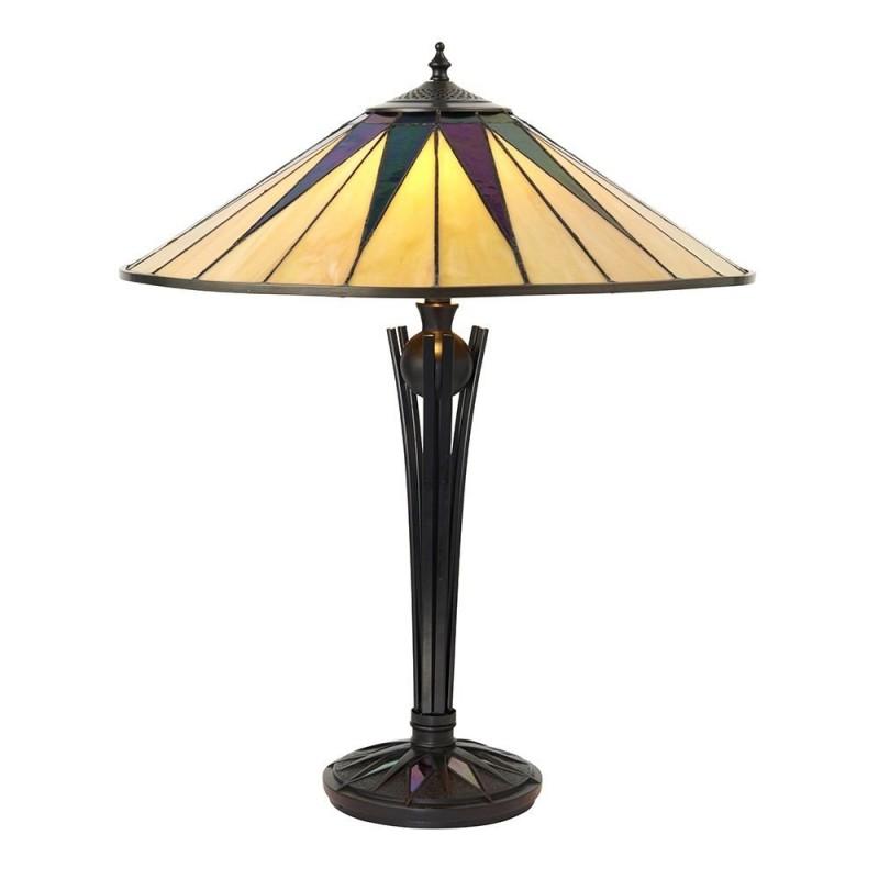 Interiors1900-64045 - Dark Star - Tiffany Glass & Black Table Lamp