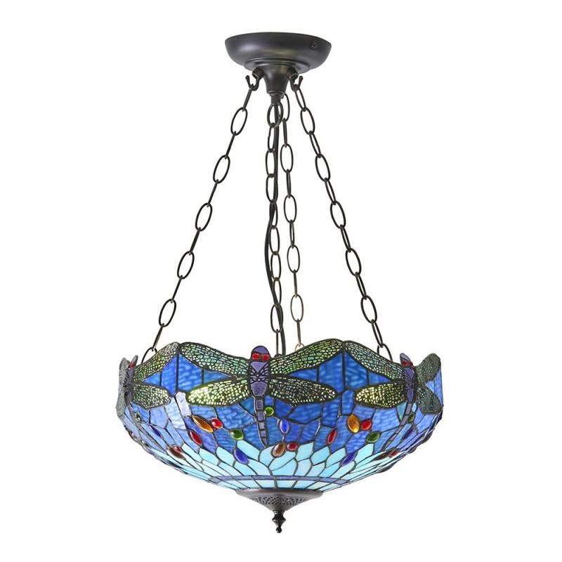 Interiors1900-64075 - Dragonfly - Tiffany Glass & Dark Bronze Medium Pendant
