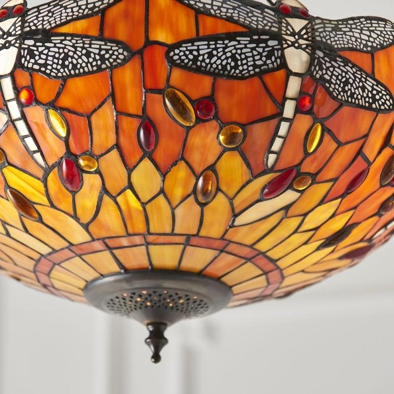 Interiors1900-64076 - Dragonfly Flame - Tiffany Glass & Dark Bronze 3 Light Pendant