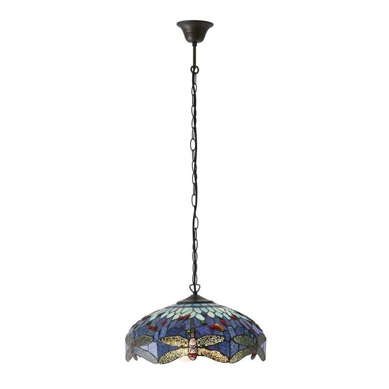 Interiors1900-64080 - Dragonfly - Tiffany Glass & Dark Bronze 3 Light Pendant