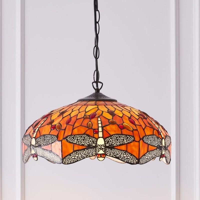 Interiors1900-64081 - Dragonfly Flame - Tiffany Glass & Dark Bronze 3 Light Pendant