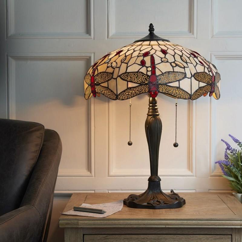 Interiors1900-64085 - Dragonfly Beige - Tiffany Glass & Dark Bronze Table Lamp