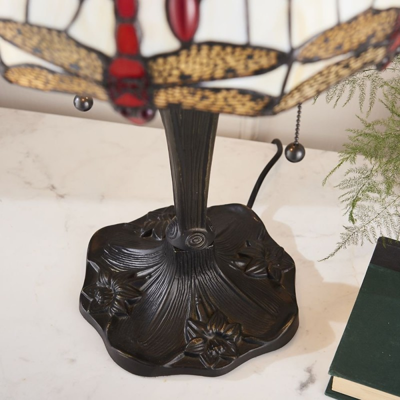 Interiors1900-64086 - Dragonfly Beige - Tiffany Glass & Dark Bronze Table Lamp