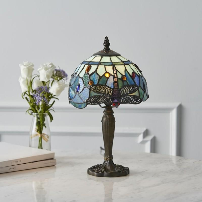 Interiors1900-64088 - Dragonfly - Tiffany Glass & Dark Bronze Mini Table Lamp