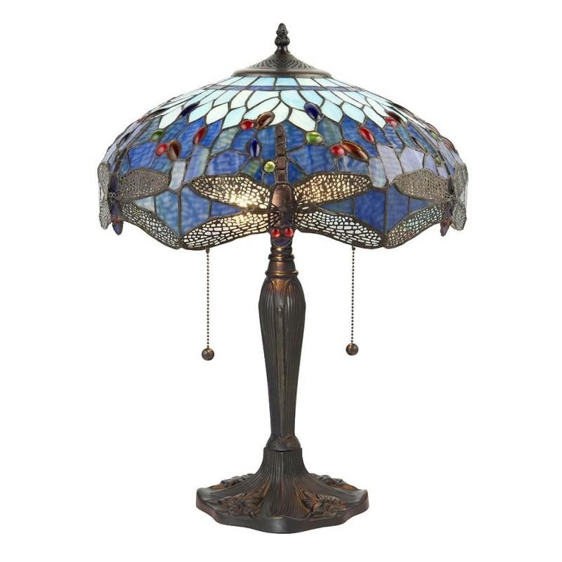 Interiors1900-64089 - Dragonfly - Tiffany Glass & Dark Bronze Medium Table Lamp