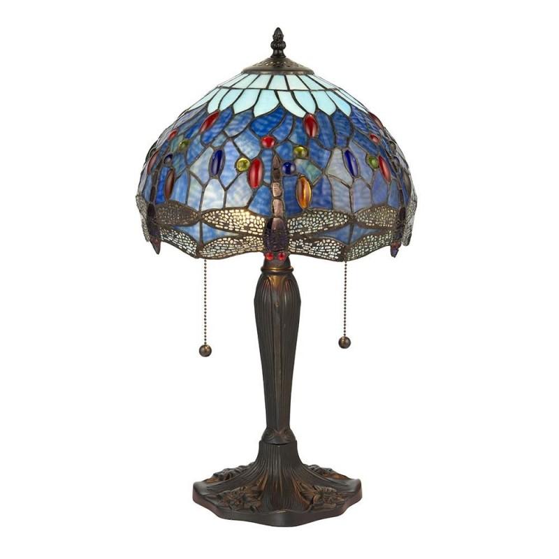 Interiors1900-64090 - Dragonfly - Tiffany Glass & Dark Bronze Small Table Lamp