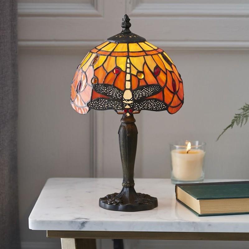 Interiors1900-64091 - Dragonfly Flame - Tiffany Glass & Dark Bronze Mini Table Lamp
