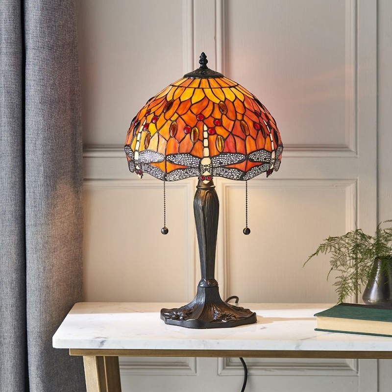 Interiors1900-64092 - Dragonfly Flame - Tiffany Glass & Dark Bronze Small Table Lamp
