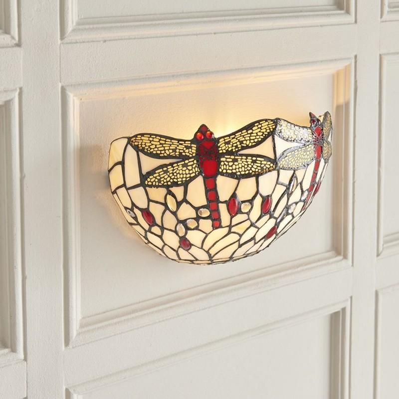 Interiors1900-64101 - Dragonfly Beige - Tiffany Glass & Black Wall Lamp