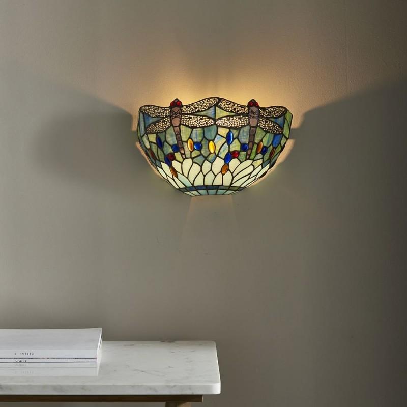 Interiors1900-64102 - Dragonfly - Tiffany Glass & Black Wall Lamp