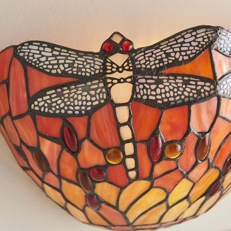 Interiors1900-64103 - Dragonfly Flame - Tiffany Glass & Black Wall Lamp