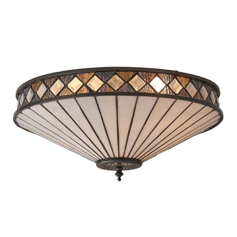 Interiors1900-64145 - Fargo - Tiffany Glass & Dark Bronze 2 Light Flush