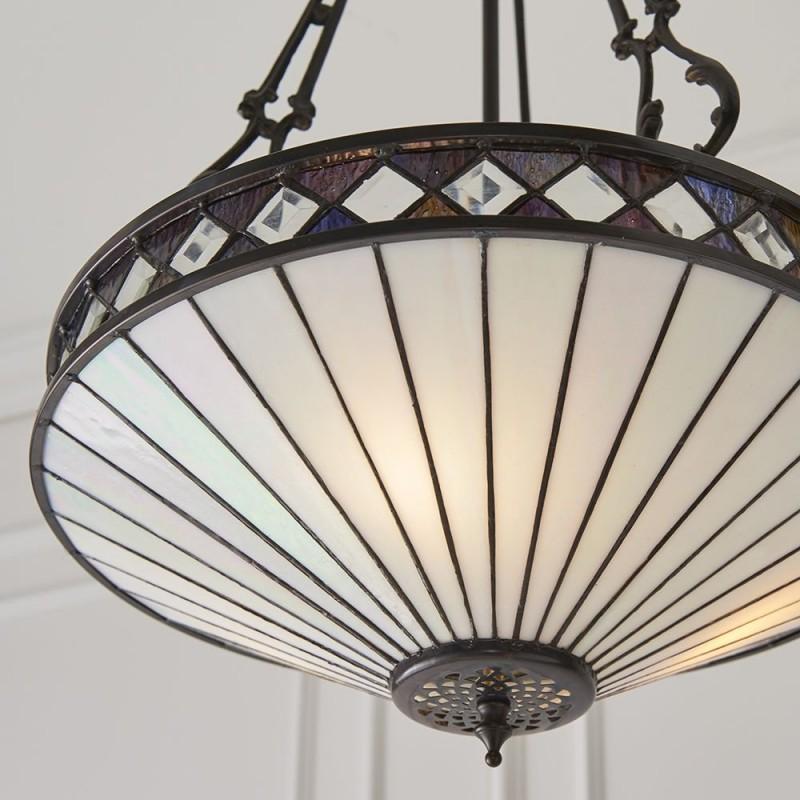 Interiors1900-64146 - Fargo - Tiffany Glass & Dark Bronze 3 Light Pendant