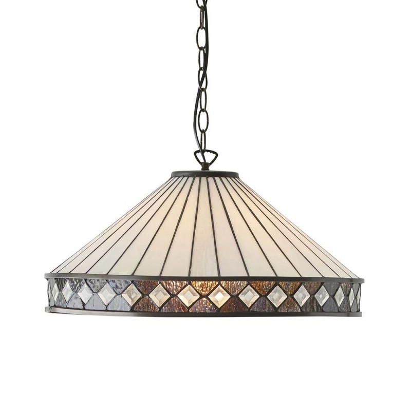 Interiors1900-64147 - Fargo - Tiffany Glass & Dark Bronze Single Pendant