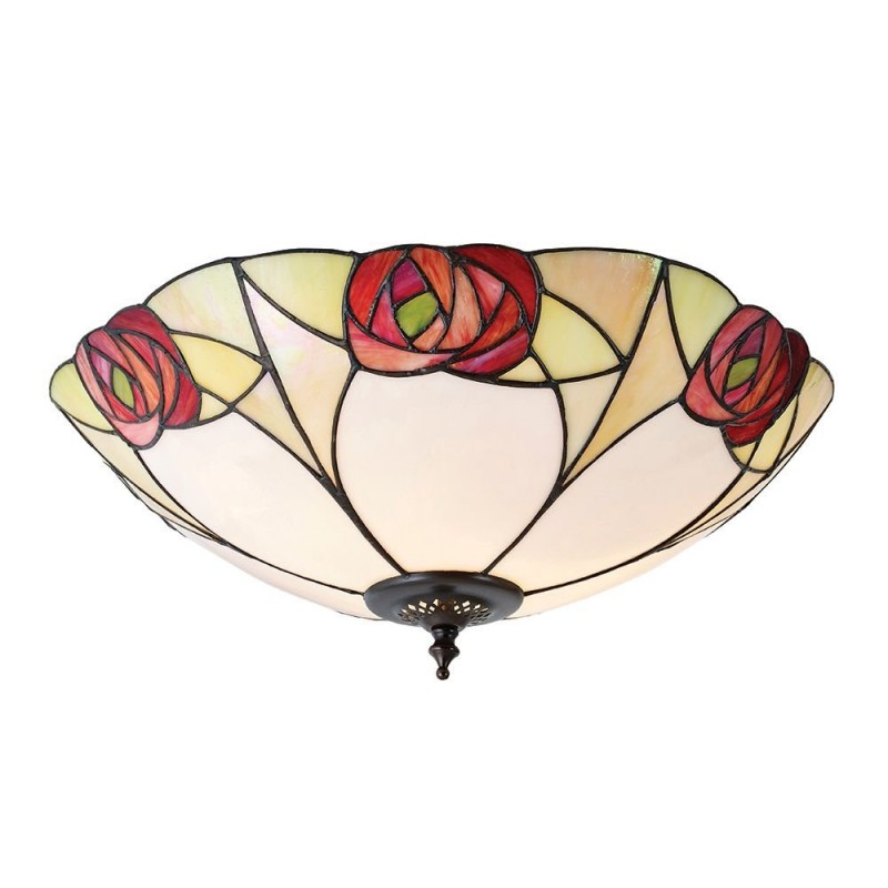 Interiors1900-64182 - Ingram - Tiffany Glass & Dark Bronze Flush