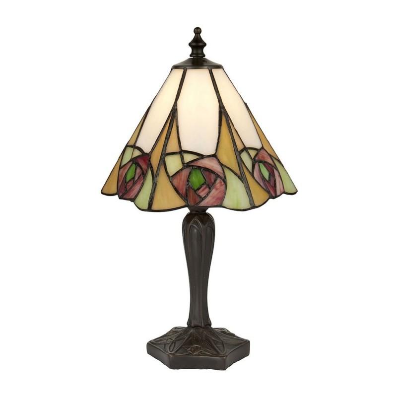 Interiors1900-64185 - Ingram - Tiffany Glass & Dark Bronze Small Table Lamp