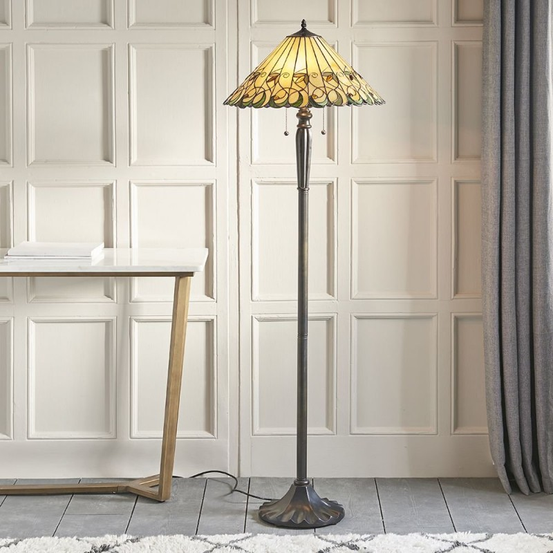 Interiors1900-64192 - Jamelia - Tiffany Glass & Dark Bronze Floor Lamp