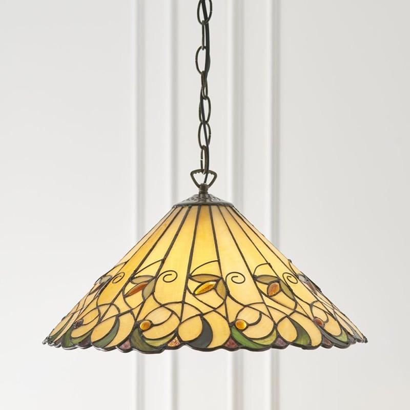 Interiors1900-64193 - Jamelia - Tiffany Glass & Dark Bronze Medium Pendant