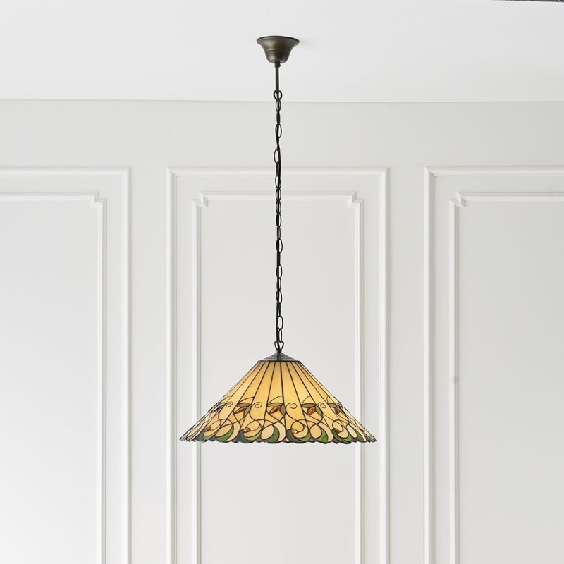 Interiors1900-64194 - Jamelia - Tiffany Glass & Dark Bronze 3 Light Pendant